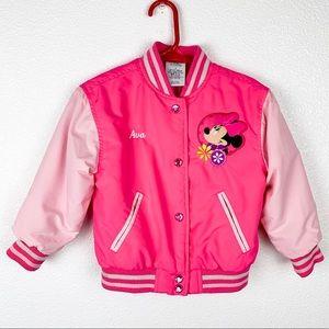 😄DISNEY Minnie pink girls graphic bomber jacket 3